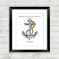 Anchor for my Soul Print, Scripture Art, Scripture Art Print, Anchor Art, Zentangle