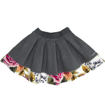 Monnalisa - Girl Skirt Folk, Multicolor Flower - 4Y