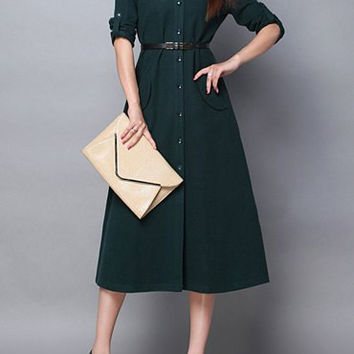 ae652f256b0e Dark Green Button-Up Long Sleeve Midi from MAZE Fashions