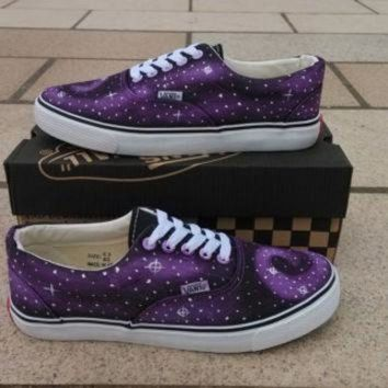 DCCKIJG Purple Galaxy Vans shoes Custom Vans Galaxy Vans Sneakers Hand-Painted On Vans Shoes