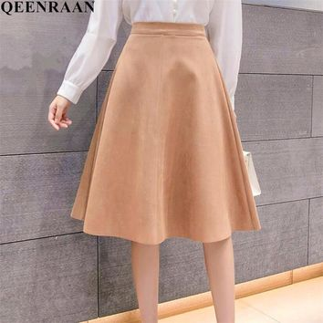 New Spring Leather Suede Skirt Women High Waist Pleated Skirts Faldas Saia Fashion Female Knee-Length Skirt Jupe
