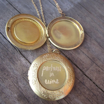 Set of Two Matching  'Partners in Crime'  Vintage Brass Engraved Lockets..Can be Customized with Your Names For Free