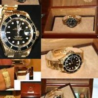 ROLEX SUBMARINER ALL 18K GOLD BLACK FACE /BOX/PAPERS -188.5 GRAMS EXTRA LINKS
