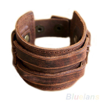 Men's Retro Genuine Leather Buckle Punk Cuff Bangle Wristband Bracelet   00RQ