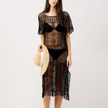 Black Crochet Lace Cover Up