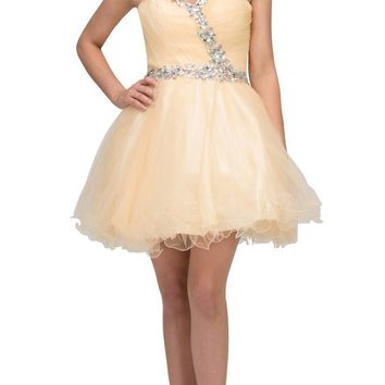 Poofy Short Homecoming Dress Champagne Tulle Strapless Rhinestones