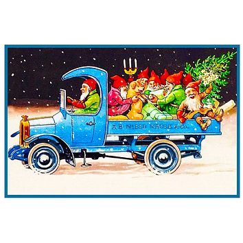 Elves Gnomes Delivering Presents in a Truck Jenny Nystrom Holiday Christmas Counted Cross Stitch Pattern