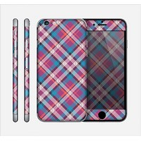 The Striped Vintage Pink & Blue Plaid Skin for the Apple iPhone 6