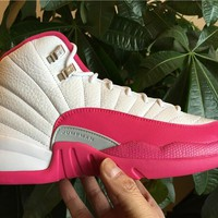 Nike Air Jordan XII 12 Vivid Dynamic Pink and White Valentines Day Basketball Sneaker