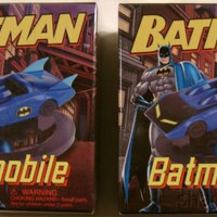 Set 2 DC Comics Batman Batmobile Mega Mini Kits Books Model Car Display Base NEW