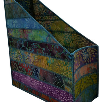 Home Storage Magazine Organizer in Multicolored Batik