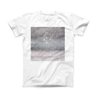 The Unfocused Grayscale Glimmering Orbs of Light ink-Fuzed Front Spot Graphic Unisex Soft-Fitted Tee Shirt