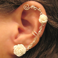 "Non Pierced Cartilage  Ear Cuff  Conch Cuff ""Roses are White"" Silver tone Wedding Prom Bridal"