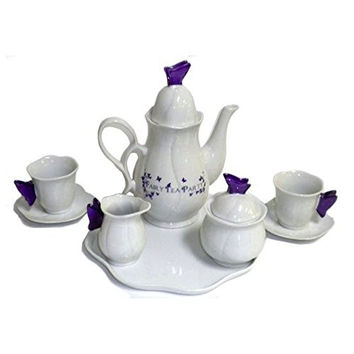 Butterflies Fairy junior size Tea Party Set Child Ceramic - Teapot tea cups saucers creamer & sugar bowl