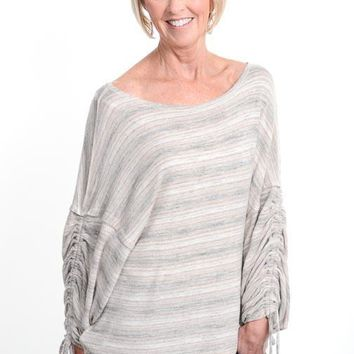 Taupe Striped Ruched Sleeve Top
