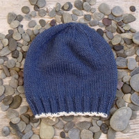 SALE 25% OFF - Men's Basic Beanie in Lake Blue with Natural, Off White Edging