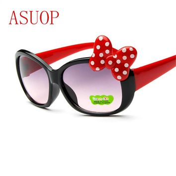 ASUOP boys and girls cat eye sunglasses 2018 new high-end fashion brand children's goggles bow color children's glasses UV400 su