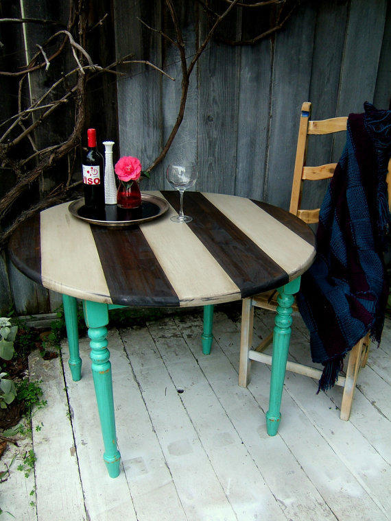 Striped Shabby Chic Kitchen Table Turquoise Grey and by NineRed