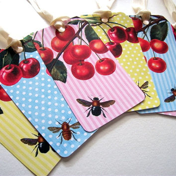 Bees and Cherries Tags - French Country - Shabby Chic - Set of 6