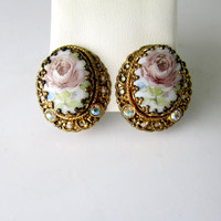 Porcelain Earrings Floral Painted Prong Set Center Stone Gold Filigree Rhinestone Trim Vintage Collectible Gift Item 2373