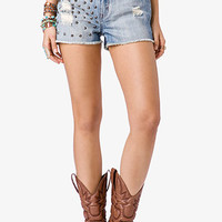 FOREVER 21 Spiked & Torn Denim Cutoffs Light Denim 25