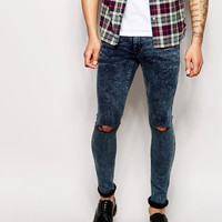 ASOS Extreme Super Skinny Jeans In Acid Wash With Knee Rips