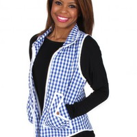 Heart Of A Girl Blue Gingham Vest | Monday Dress Boutique