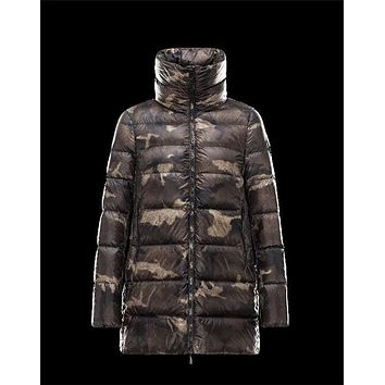 Moncler TORCY camouflage print Military green Coats Techno Fabric Womens 41466447JO