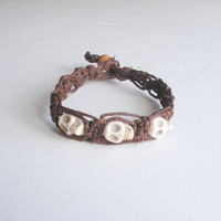 Lacy Brown Hemp Bracelet with White Skull Beads, ready to ship.