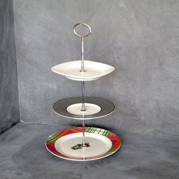Triple Tiered Plate Stand, Mini Plate Stand, 3 Tier Server, Appetizer Server, Tea Stand, Tiered Pastry Plate, Jewelry Holder 51