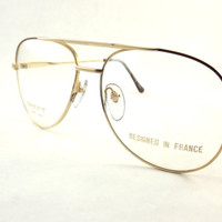Mens Aviator Eyeglasses, Vintage Matte Gold Metal and Brown Glasses Frame, Never Worn