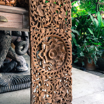 Natural Carved Bed Headboard Panel, Wall Art Sculpture. Thai Teak Wood Carving. Oriental Home Decor. (90X33 Cm. Extra Thick. Natural)