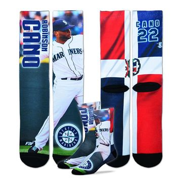 For Bare Feet Seattle Mariners Robinson Cano Promo Crew Socks - Men, Size: One Size (Blue)