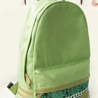 Mint Green Canvas Backpack with Tribe Embellishment from topsales