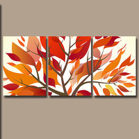 Wall Art Canvas Watercolor Pottery Artwork Fall Season Tree Floral Leaves Orange Red Brown Nursery Set of 3 Prints Bedroom Bathroom Three