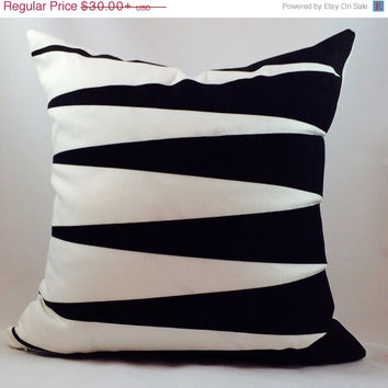 ChristmasinJulySALE Black and white indoor/outdoor contrasting geometric pillow