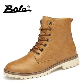 BOLE 35-47 Large Size Men Boots Lace Up Men Ankle Boots High Quality Pu Leather Wear Resisting Casual Shoes Flats Men Work Boots