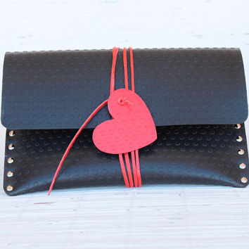 Vegan black clutch with red heart. Ipad rivet clutch for women & man. Polka dots vinyl clutch as Lego bricks. Personalized Valentine's gift