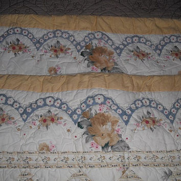 2 Vintage Shabby Chic Pillow Shams ~ Yellow roses ~ Yellow Blue Cream Quilted Floral Covers