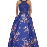 Halter Dress with Beaded Top and Floral Skirt- Royal Blue/Print