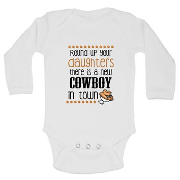 A New Cowboy In Town   Funny Kids Onesuit