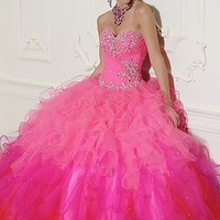 Beaded Tulle Quinceanera Dress by Mori Lee