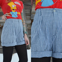 Vintage 90's L.L. Bean High Waisted Nautical Plaid Preppy Hipster Shorts