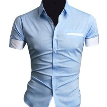 jeansian Mens Dress Casual Short Sleeve Fashion Shirt Slim Fit 8541
