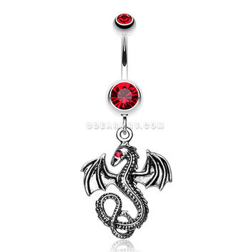 Jeweled Eye Dragon Belly Ring (Red)