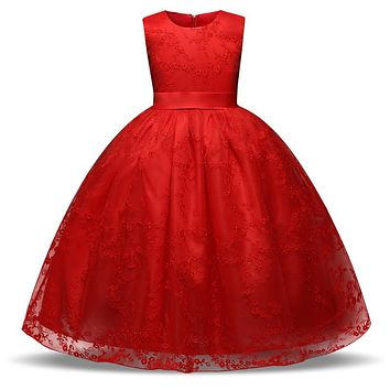 Flower Girl Dress Formal Long Evening Gown Teens Kids Clothes Party Wear Teenage Girl Clothing