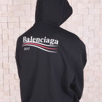 Balenciaga New fashion hoodie with wavy stripes and long sleeves men and women top Black