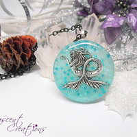 Mermaid resin charm necklace, sea creature necklace, mythical fantasy pendant, glittery resin pendant, siren charm necklace for girls