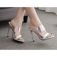 Fashionable Sexy Slender Transparent Fish-Mouth High-heeled Shoes