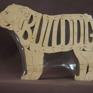 English Bulldog Dog Puzzle Wooden Toy Hand Cut with by Puzzimals